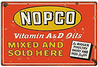 Emmett Holmes Tin Vintage Metal Sign Nopco Oils Country Garage for Men Home Decor Poster House Rules Wall Art Decor 8X12 inch