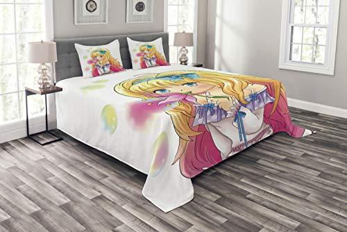 ABAKUHAUS Anime Tagesdecke Set, Manga Cartoon-Grafik, Set mit Kissenbezügen Feste Farben, für Doppelbetten 264 x 220 cm, Gelb Rosa