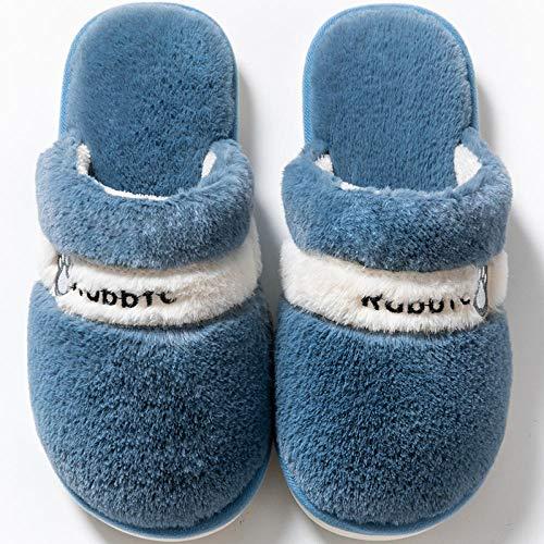 Nwarmsouth Casa Cálido Felpa Suave Invierno Pantuflas,Zapatos de algodón para el hogar de Invierno, Pantuflas cálidas de Felpa-Azul Gris_38-39,Zapatillas de Zapatos Easy Close para Hombre
