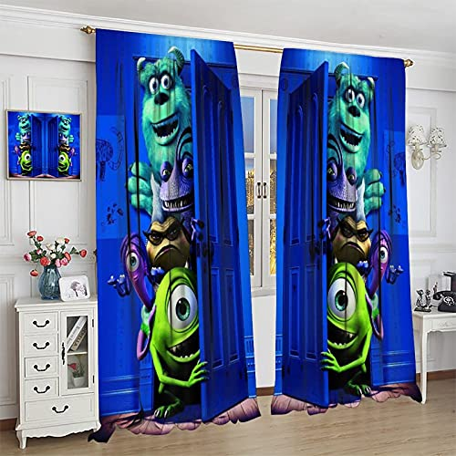 S-ANT Darkening Window Draperies Mons-ters, Inc. Window Curtains for Bedroom Living Room Kids Room Dining Room Valance Colorful Window Drapes 55x63inch(140x160cm)