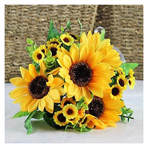 Flor de flores artificiales, 7 girasoles de Gerbera, la flor representativa del sol para las flores artificiales realistas se pueden usar para decorar flores artificiales en interiores y exteriores (a