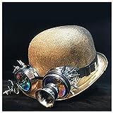 LHZUS Sombrero Steampunk Steampunk Bowler Sombrero Mujer Hombre Cosplay Topper Sombrero Fedora Gear Groom Hat Tamaño 58cm (Color: Oro Qhou, Tamaño: 58 cm)