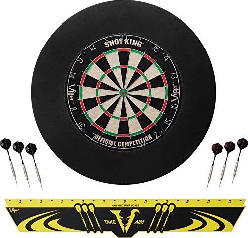 Viper Defender Backboard & Sisal/Bristle Steel Tip Dartboard Bundle: Standard Set (Shot King...