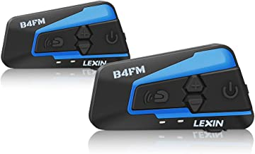 LEXIN 2pcs LX-B4FM Motorcycle Bluetooth Headset with FM Radio, Motorcycle Communication Systems With Noise Cancellation Up to 4 Riders, Off-road Motorcycle Wireless Helmet Bluetooth Intercom