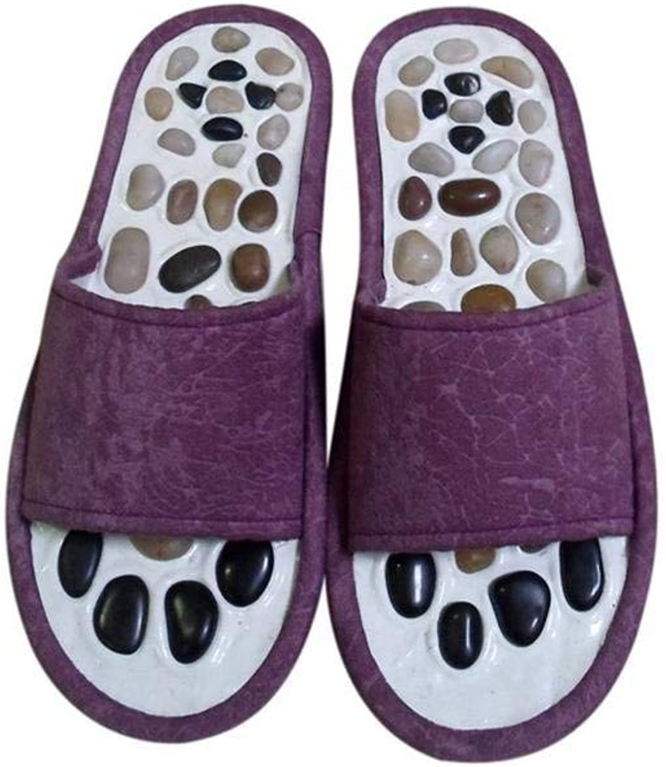 JaHGDU Lady Massage Slippers Natural Pebble Massage Foot Point Health Home Slippers for Women Purple bluee Red