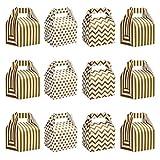 Belle Vous Cajitas para Regalo Blanco y Dorado para Fiestas (Pack de 36) 16 x 11,5 x 9 cm - Cajas para Dulces Diseños de Líneas y Lunares para Cumpleaños, Alimentos, Baby Shower y Bodas - Cajas Kraft