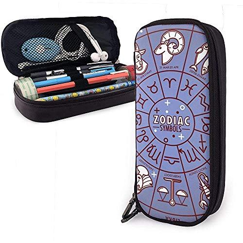 Tierkreis-Horoskop-Zeichen mit Datums-Ikonen auf nettem Stift-Bleistift-Kasten-Leder-großer Kapazitäts-Doppelreißverschluss-Bleistift-Beutel-Beutel 20 * 9 * 4cm