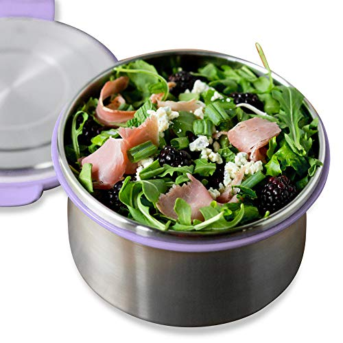 LunchBots Salad Bowl Lunch Container - 6-Cup - Leak Proof Lid - Stainless Steel Inside - Not...