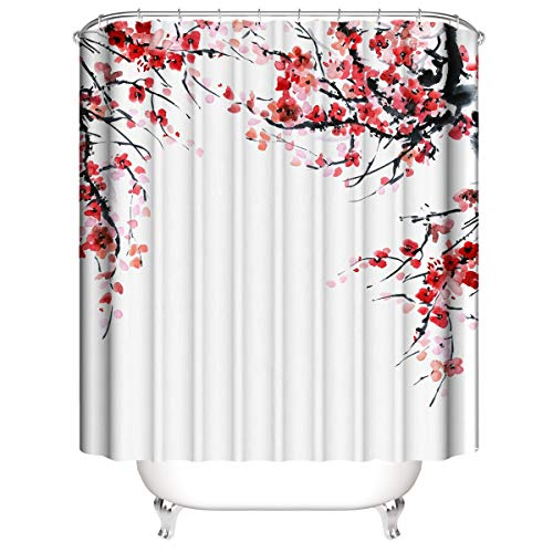 """Yeacun Plum Blossom Shower Curtain 72"""" X 72"""", Floral Shower Curtains with 12 Hooks, Waterproof Shower Curtain for Bathroom, Polyester Fabric Shower Curtains, Red Blossom Nature Plants Shower Curtain"""