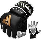 RDX MMA Handschuhe Profi Kampfsport Rindsleder Boxsack Sparring Freefight Grappling Gloves Sandsack Training Punchinghandschuhe (MEHRWEG)