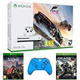 Pack Console Xbox One S 500 Go + Forza Horizon 3 + Halo Wars 2 + Gears of War 4 + Manette Xbox One sans fil - bleu