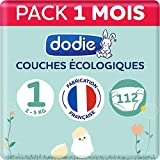 Dodie – Pañales ecológicos & franceses – Talla 1 (2 a 5 kg) – Pack 1 mes 112 pañales (lote de 2 x 56)
