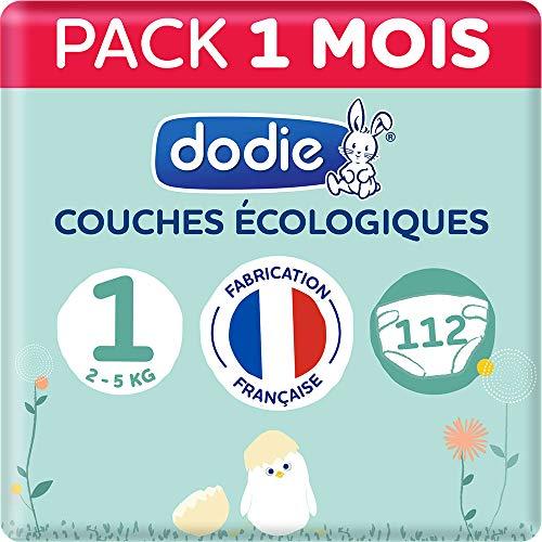 Dodie - Couches Ecologiques & Françaises - Taille 1 (2 à 5kg) - Pack 1 mois 112 couches (Lot de 2x56)