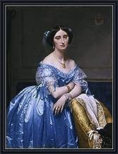 Ingres (Princesse Albert de Broglie, 1853) Canvas Art Print Reproduction Framed with 2.6