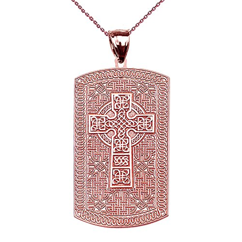 Religious Jewelry by FDJ Celtic Cross Trinity Knot 10k Rose Gold Engraveable Dog Tag Pendant Necklace 16'