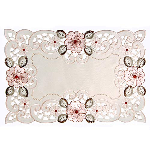 LeLehome Set of 4 Placemats, 17 Inch X 11 Inch Beige Rose Flower Vintage Embroidered Stain Resistant Silk Vinyl Washable Lace Lunchmat Place Mats, Home Kitchen Dining Restaurant Table Mats