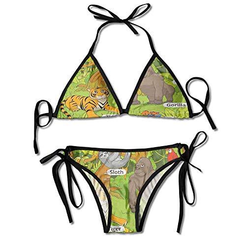 heefan Baden-Bikini-Set für Frauen, handgezeichneter Zoo-Bikini 2 Teile
