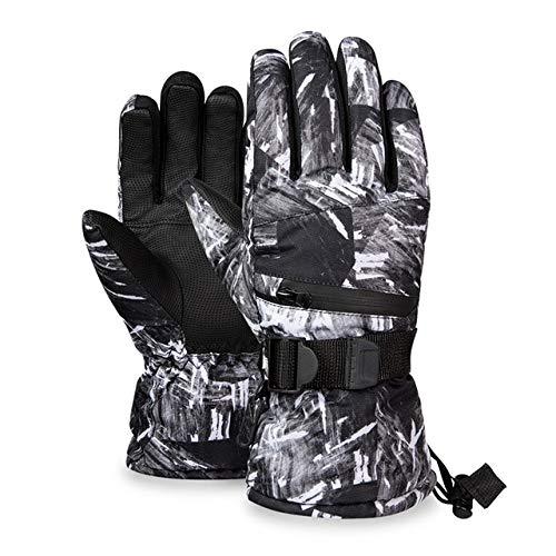 MYSdd Warme Skihandschuhe Herren und Damen Wintervlies wasserdicht warme Ski Schneehandschuhe 3 Finger Touchscreen Ski Fahren - Rücken weiß XL
