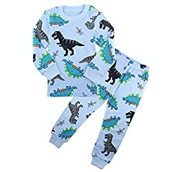 3. ZFBOZS Boys 2-Piece Dinosaur Toddler Sleepwear