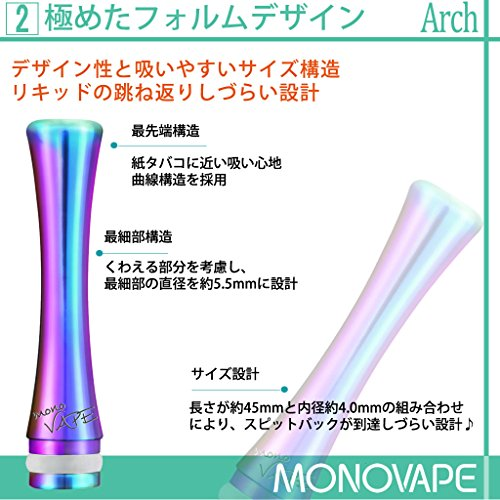 ドリップチップMONOVAPEベイプマウスピース510規格driptipスピットバック防止ステンレス510vape用キャップカバーmv011[日本正規品](チタンS)