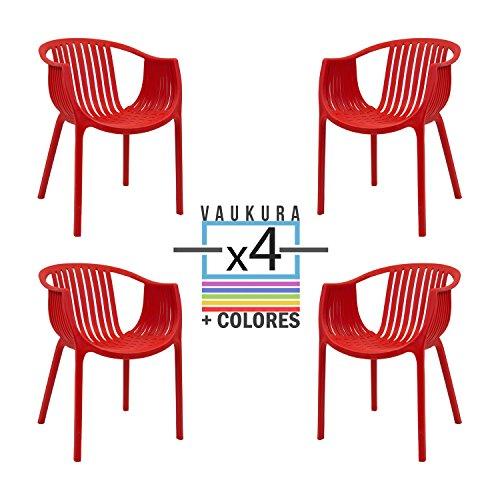 Silla Tatami (Pack4)- Silla de Polipropileno - (Varios Colores) - Vaukura (Rojo)