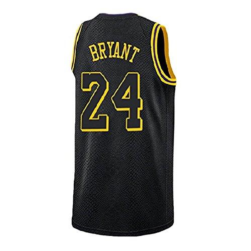 HOPLUM LO Men's Bryant Jersey Los Angeles 24 Kobe Basketball Black (S-XXL (M)