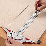 Woodworkers Edge Rule, transportador ajustable de 0 a 70 grados, buscador de ángulo, regla Craftsman, cuadrado en T con transportador, transportador acero inoxidable dos brazos para reparación muebles