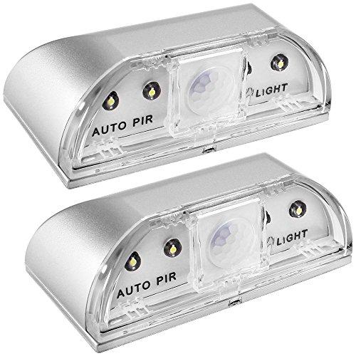 Senhai 2 Pack Keyhole Lights, nachtlampjes PIR infrarood draadloos deurslot lamp, auto sensor bewegingsmelder, 4 LED lampen