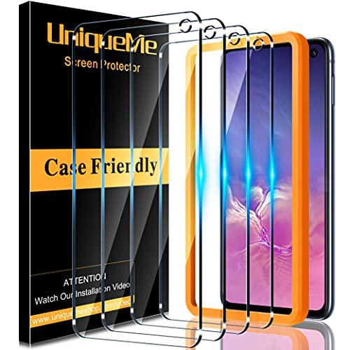 [4 Stück] UniqueMe Schutzfolie für Samsung Galaxy S10e Panzerglas mit Rahmen, Full Coverage [Einfache Installation] [Anti- Kratzer], [Bläschenfrei], [9H Härte], [HD-Klar]