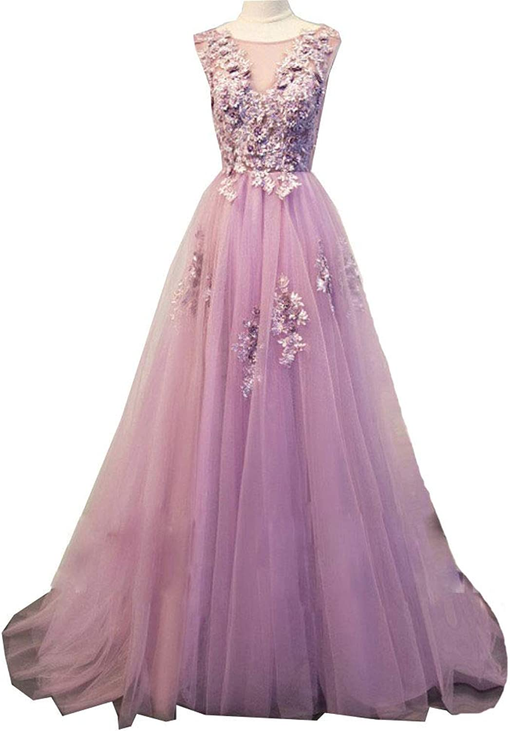 Liaoye Women's Long 2018 Prom Dresses VNeck Tulle Lace Appliques Evening Gowns Party Dress