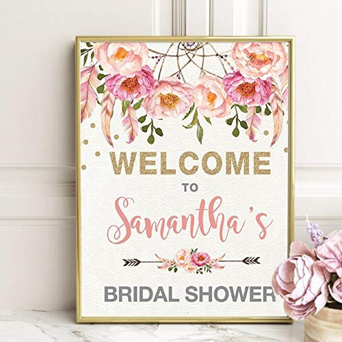 sanzangtang Floral Bridal Shower Welkomstbord Canvas schilderij afbeelding aquarel roze bloemen Boho Bridal Shower Print Art Deco frameloos