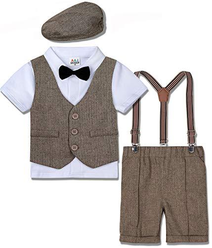 mintgreen Traje Niño Conjunto Gentleman Bebé Camisa Boda con Boina, Caqui, 1-2 años (Tamaño del Fabricante: 90)