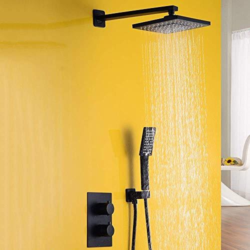 Jkckha ahorro de agua Temperatura constante Termostática alto grado de pared cuadrado de Negro juego de ducha de 3 modos de cobre grifo de la ducha de pulverización superior de sistema de ducha delica