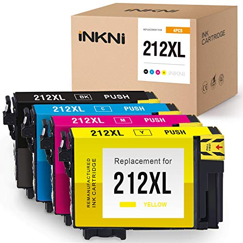 INKNI Remanufactured Ink Cartridge Replacement for Epson 212XL T212XL T212XL120 for Expression Home XP-4100 XP-4105 Workforce WF-2850 WF-2830 212 XL (Black Cyan Magenta Yellow, 4-Pack) Nebraska