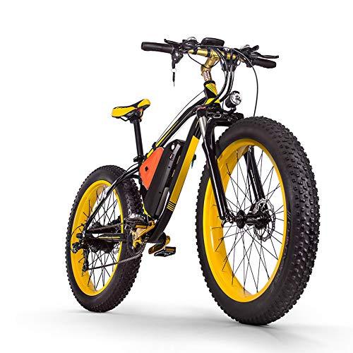 YDWLLF 48v16ah1000w Electric Mountain Bike 26'' Fat Tire E-Bike 21 Speeds Beach Cruiser Mens Sports Mountain Bike Full Suspension Large Capacity Lithium Battery Hydraulic Disc Brakes,Black,Yellow