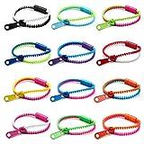 JEWELRIESHOP 12 Pcs Friendship Bracelets Zipper Bracelets Assorted Mixed Color Wholesale Lot