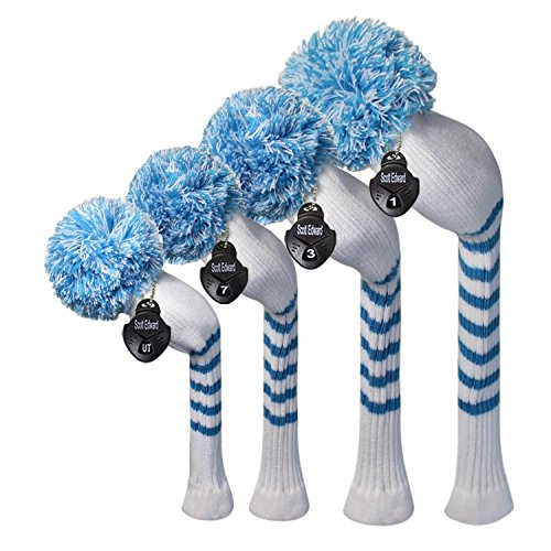 Scott Edward Multi-Style Optional Individualized Knit Golf Club Head Covers Set of 4, Fit for Driver Wood(460cc) 1, Fairway Wood 2, and Hybrid(UT) 1, for Male/Female Golfers (White Blue Stripes)
