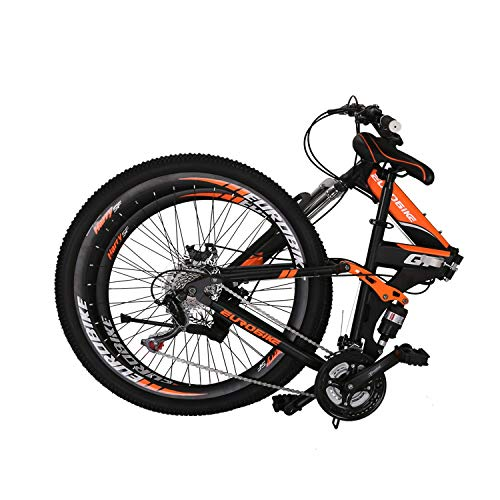 "Eurobike OBK G7 Folding Bike 21 Speed Full Suspension Mountain Bicycle 27.5"" Daul Disc Brake Mens Bikes Foldable Frame (Orange Spoke wheels)"