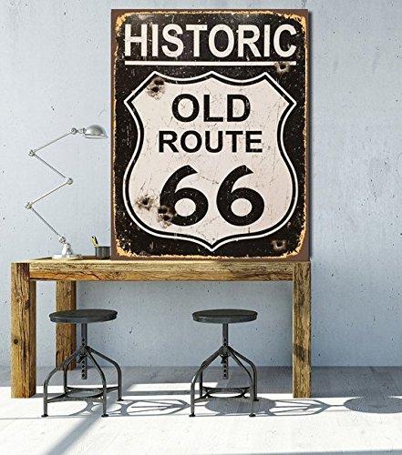 Fhdang Decor Plaque de rue en métal avec inscription « Route 66 », 20,3 x 30,5 cm