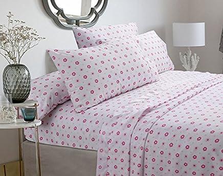 Greta Pastel Sheets Set - Pink floral 100-percent Brushed Microfiber … (Full Sheet Set)