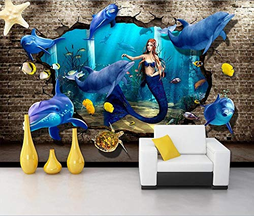 Mural Wallpaper Photo Home Customized 3D Photo Wallpaper Mural Underwater World Dolphin Turtle 3D Stereo Through Wall Background Wall Mural