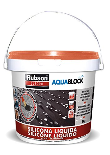Rubson Aquablock SL3000 Silicona Líquida teja, impermeabilizante líquido para prevenir y reparar goteras y humedades, silicona elástica con tecnología Silicotec, 1 x 1 kg