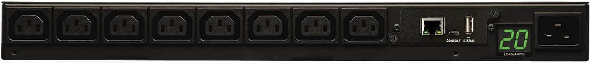 Tripp Lite Single Phase Monitored PDU, 20A, 8 Outlets C-13, 208/220/230/240V, C20/L6-20P Adapter, 8.5 ft. Cord, 1U Rack-Mount Power, LX Platform, TAA Compliant (PDUMNH20HV)