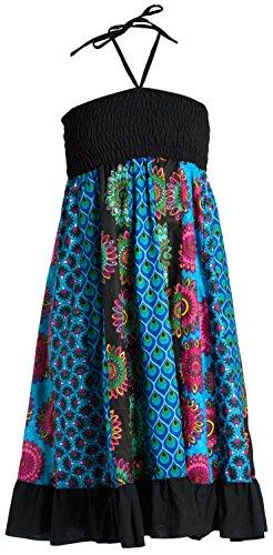 Vestido o Falda Maxi Patchwork con Cinturilla elástica, Aprox. 100 cms de Largo, Azul