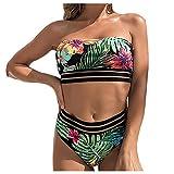 chiphop Costume da Bagno Donna Intero Push Up Multicolore Bikini Parte Superiore del Tubo Reggiseno Perizoma Costumi Interi Donna Spiaggia Trasparente Sexy Beachwear Bikini Diviso Sexy Stampa