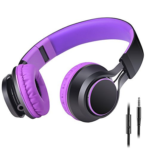 Sound Intone HD30 Stereo Lightweight Folding Portable Headphone, 3.5mm with In-line Microphone Remote Control, Noise Cancelling Bass Metal, Purple