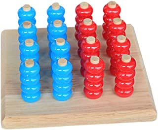 Wooden 4 in A Row Game Connect Four in a Row Tabletop Board Game Connect Family Fun Toy Strategy Game for Kids Toddlers Si...