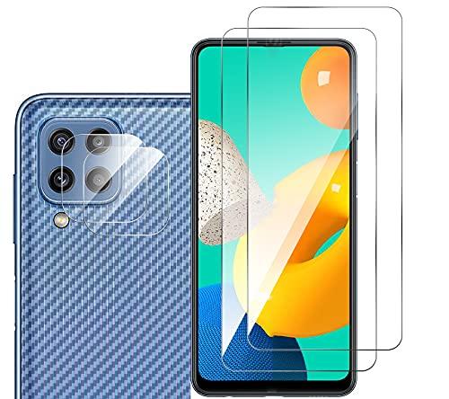 GIOPUEY [2+2+2 Pack Cristal Templado&Protector Cámara&Protector Trasero Compatible con Samsung Galaxy M32 [Amistoso con Funda] Anti Rrayas&Deslizante (Transparente)
