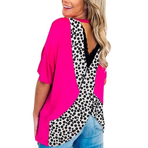 Reokoou Women's Boho T Shirt Short Sleeve Round Neck Casual Tops Leopard...