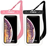 Waterproof Case 2 Pack for iPhone 11 / iPhone 11 Pro Max Xs Max XR XS X 8 7 6S Plus, Samsung Galaxy S10 S10e S9 S8 +/Note 9 8, Pixel 3 2 XL HTC LG Sony Moto up to 6.8' (Black and Pink)